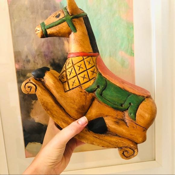 Vintage hand carved folk art rocking horse figure